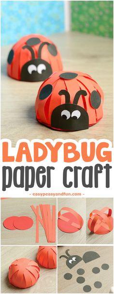 Adorable Paper Ladybug Craft #craftsforkids #activitiesforkids #Springcrafts
