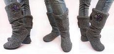 Fazer botas com uma blusa velha de lã
