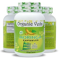 Organic Moringa Powder 120 Veg Capsules 100 Pure and Natural Raw Herbal Dietary Super Food Supplement Non GMO Gluten FREE US FDA Registered Facility Kosher Certified Vegetarian Capsule All Natural ** Click for Special Deals