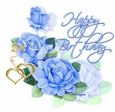 Happy Birthday blue flowers roses bear birthday happy birthday graphic bday b-day friend birthday birthday greeting
