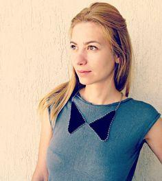 SALE 15 Black Collar Necklace / Crochet Collar Jewel by LikeFreja, $28.00