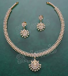 The Evergreen Traditional Diamond Necklace Set Studded With Round Diamonds And A Diamond Pendant Added As A Droplet. Gold Wedding Jewelry, Gold Jewelry Simple, Simple Necklace, Diamond Necklace Set, Diamond Pendant, Gold Necklace, Stone Necklace, Diamond Choker, Gold Jewellery Design