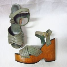 RARE True Vintage 1960's-70's Wood Platform Leather Hippie Disco Shoes Heels - 7 #PlatformHeels