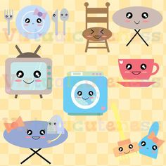 Appliances Clip Art - Kawaii Clipart, Chibi, House Clipart, Washing Machine, TV, Iron, Broom, Coffee Cup, Free Commercial and Personal Use