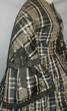 Black and gray plaid silk dress, ca. 1860s | In the Swan's Shadow