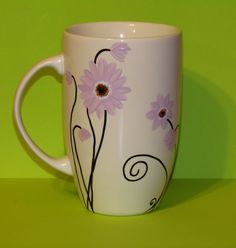 Purple Daisy coffee mug designed by Maggie by Bisque Pottery, Ceramic Bisque, Pottery Mugs, Ceramic Mugs, Ceramic Pottery, Sharpie Pens, Sharpies, Coffee Cup Crafts, Coffee Cups