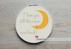 Modern cross stitch pattern I love you till the moon and back.    The pattern comes as a PDF file that youll will be able to download immediately