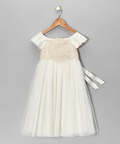 WIsh we found this first--LOVE it for flower girl dress!!  Ivory Cap-Sleeve Dress - Toddler & Girls
