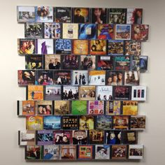 CD storage. CD cases hot glued to a peg board and mounted to a wall. (make sure you have enough space to open them) Great way to display your favorite CD's and have easy access to them at the same time.