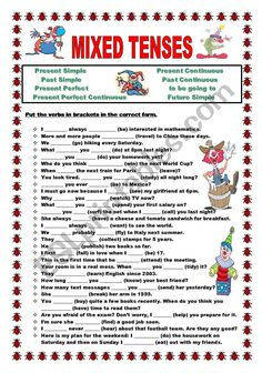 Put the verbs in brackets in the correct tense: Present Simple Present Continuous Past Simple Past Continuous Present Perfect Present Perfect Continuous Future Simple or to be going to. KEY IS INCLUDED! English Grammar Tenses, Teaching English Grammar, English Grammar Worksheets, English Verbs, Verbal Tenses, All Tenses, Tenses Grammar, Grammar Exercises, English Exercises