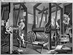 The Works of William Hogarth | Industry and Idleness: plate 1 | weaver's workshop: the industrious apprentice represents the work ethic of 18th century Protestant England | originally published 1747 | James Heath restored the original plates for this 1822 edition, published by Baldwin & Cradock