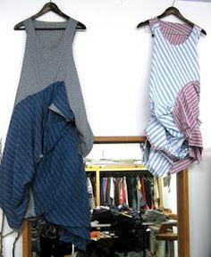 Ellie Mucke dress on right made from recycled men's shirts. workshop Photographer Tobias Titz