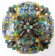 """Vintage Schreiner New York signed Millifiori Glass Brooch Pin 2 5/8"""" #Schreiner vintage costume jewelry x"""