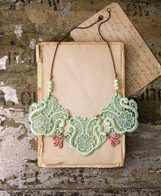 lace bib necklace - KALLISTO - mint and blush pink bib necklace - statement necklace. $45,00, via Etsy.