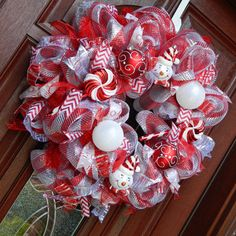 Deco Mesh Candy Cane Christmas Wreath, Snowman Holiday Peppermint Wreath, Red Silver holiday wreath