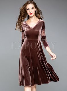 Shop Lace Splicing V-neck High Waist Velvet Skater Dress at EZPOPSY. dress Lace Splicing V-neck High Waist Velvet Skater Dress Velvet Skater Dress, Prom Dresses, Summer Dresses, Dresses Dresses, Dance Dresses, Daily Dress, Velvet Fashion, Streetwear Fashion, Chic Outfits