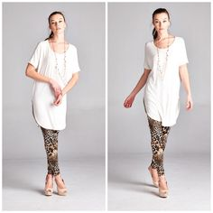 Ivory Round Hem Tunic Wardrobe Essential Tunic. Can be worn with absolutely anything! Made of soft rayon/spandex blend. Has a round hem with short sleeves - PRICE FIRM - NO TRADES Bchic Tops Tunics