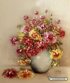 Fleurs de chrysanthèmes en soie venues de Russie
