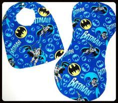Batman Bib and Burp Cloth Set by Supergeekboutique on Etsy, $10.00
