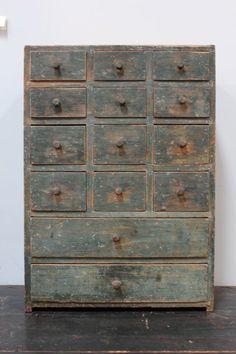 century antique apothecary chest, dovetailed case and drawers, old robins egg blue paint Primitive Furniture, Primitive Antiques, Country Furniture, Country Primitive, Country Decor, Antique Furniture, Painted Furniture, Farmhouse Decor, Primitive Cabinets