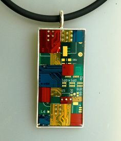 Computer Jewelry Circuit Board Mosaic Sterling Silver Long Pendant