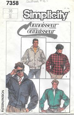 Simplicity 7358 1980s Mens Lined Jackets by GrandmaMadeWithLove