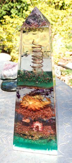 Obelisk Spring Garden Orgonite Etheric by VioletFlameOrgoneLA