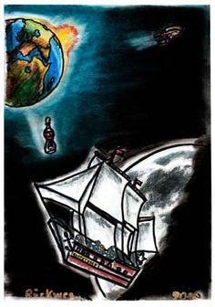 """Und man muss natürlich auch wieder auf die Erde zurück. Aber vorher gibt es noch eine Nachricht des Königs ... als Flaschenpost. .......... Zeichnungen aus dem zweiten Kinderbuch von Michael Klüter """"Der Kleine Ritter und das Abenteuer geht weiter"""", welches demnächst bei Amazon erscheinen wird."""