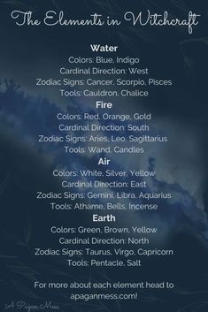The Elements in Witchcraft Witch Spell Book, Witchcraft Spell Books, Green Witchcraft, Pagan Witchcraft, Wiccan Witch, Magick Spells, Witchcraft Tattoos, Hoodoo Spells, Moon Spells