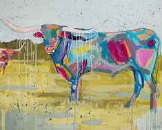 Original abstract, cow & animal paintings by Elaine Burge. Gregg Irby Gallery is Atlanta's fine art destination to discover emerging & established artists. Colorful Animal Paintings, Abstract Animals, Watercolor Animals, Abstract Art, Small Canvas Art, Cow Painting, Easy Art Projects, Cow Art, Zodiac Art