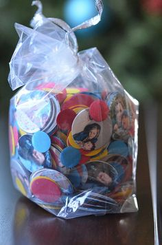 """She purchased this """"photo confetti"""" but it would be really easy to make something similar."""