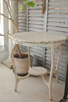 フランスアンティーク家具ホワイトペイントマッシュルームテーブル/サイドテーブル
