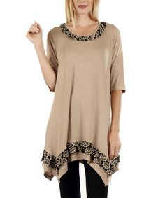 Mocha Floral-Panel Sidetail Tunic - Plus