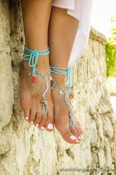 Barefoot sandals Beach wedding Turquoise bottomless sandals with tiny bells and sealife beads Foot jewelry barefoot sandal Beach toe anklet by ElvishThings on Etsy