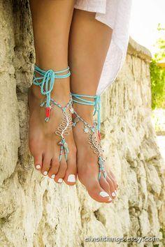 Barefoot sandals Beach wedding Turquoise by ElvishThings on Etsy
