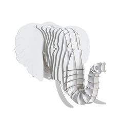Trophée Eléphant en carton - GM Blanc