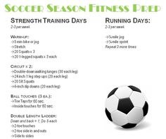 Soccer workout checklist