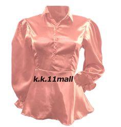 Victorian Shirt Satin Puff Sleeve Shirt Vintage Wear Salmon Color Peplum top S86 #Unbranded #Basic #PartyCocktail Victorian Shirt, Satin Shirt, Salmon Color, Vintage Wear, Shirt Sleeves, Peplum, How To Wear, Shirts, Tops