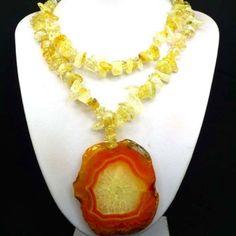 Happy Sunny Agate and Citrine Gemstone Necklace, Intro Price/Free Ship | evezbeadz - Jewelry on ArtFire