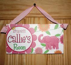 Pink Elephant Girls Bedroom Baby Nursery Bedroom DOOR SIGN Wall Art