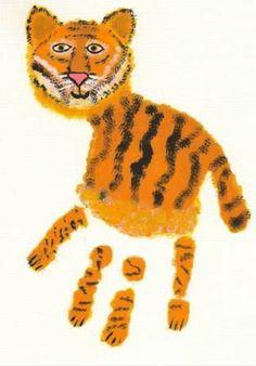 Darling Handprint Painting Ideas For Kids from Handmade Charlotte - Tiger -  #plaidcrafts #diy