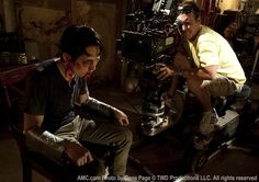 The Walking Dead Season 3 Behind the Scenes Photos  Steven Yeun (Glenn Rhee) and Mike Satrazemis (Camera Operator) in Episode 7 #thewalkingdead