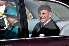 Cheerful: The Duke of Edinburgh was on jolly form as he arrived for the service...