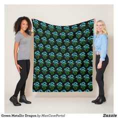 Green Metallic Dragon Fleece Blanket Picnic In The Park, Edge Stitch, Outdoor Events, Portal, I Shop, Metallic, Delicate, Dragon, Bath