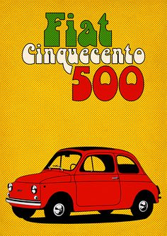 Fiat 500 Cinquecento Poster by David Siml, via Behance