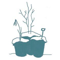 Bloempotten in de winter; illustratie van Stokwolf voor de nieuwe site van Radijsje. Een super samenwerking!