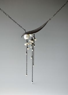 Angled pearl drop necklace by Catherine Grisez. 14kt gold vermeil over sterling silver, oxidized sterling silver, pearls.