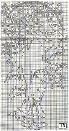 Borduurpatroon Kruissteek Vrouw *Cross Stitch Pattern Woman ~Jugendstil - Art Nouveau~