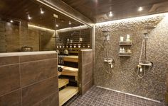 Valaistus on ihan kiva. Sauna Shower, Tub Shower Combo, Shower Tub, Sauna Steam Room, Sauna Room, Basement Sauna, Basement Bathroom, Modern Saunas, Sauna Design