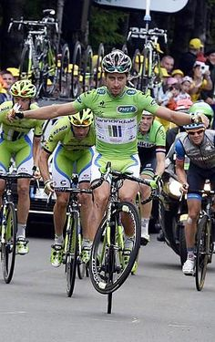 TdF 2014 - 10 : Peter Sagan (Slovakia / Cannondale) having a bit of fun at the stage 10 finish line - Photo credit © Bettini Photo